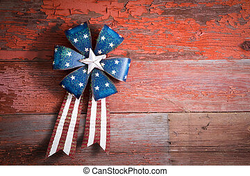 4th July patriotic badge on rustic wood - 4th July patriotic...