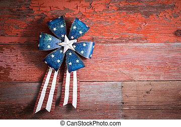4th July patriotic badge on rustic wood - 4th July patriotic...