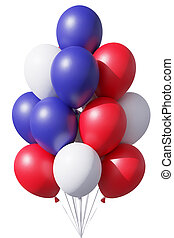 4th july patriotic balloons in traditional colors on white.