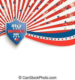 4th July Stars Stripes Flyer Silver Shield