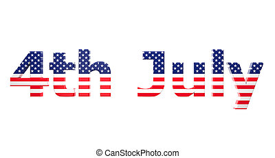 4th july - 3d image of usa 4th july on white background