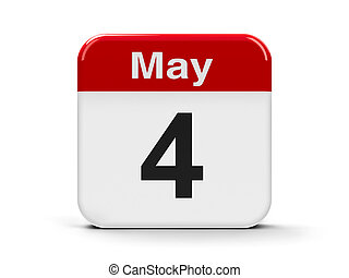 Calendar web button - The Fourth of May, three-dimensional rendering, 3D illustration