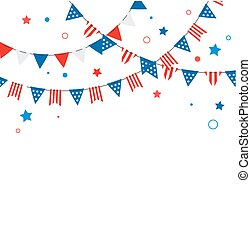 4th of July, American Independence Day celebration background with fireworks, banners, ribbons and color splashes
