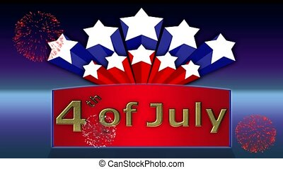 4th of July animated background with fireworks