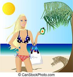 4th of July Beautiful Woman in a Bikini