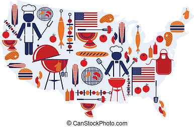 4th of July celebration; Flag with barbecue icons