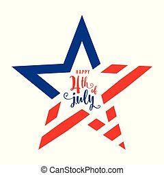 4th of July celebration holiday banner, star shape with lettering text in the center. USA Independence Day poster for greeting, sale concept design