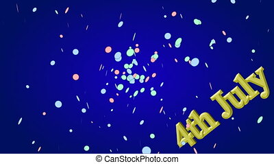 Confetti explosion over blue background with golden text