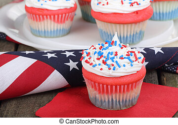 4th of July Cupcake - 4th of july cupcake on a napkin with...
