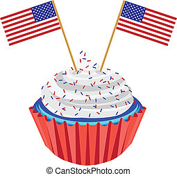 4th of July Cupcake with Flag Illustration