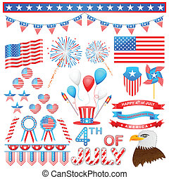 4th of July Design Element - easy to edit vector...