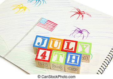 4th of July Drawing and Blocks - Kid\'s 4th of July drawing...