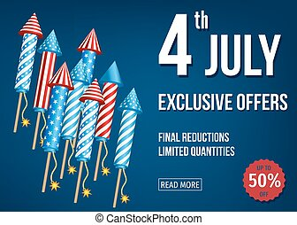 4th of July exclusive offers banner with firework rockets. -...