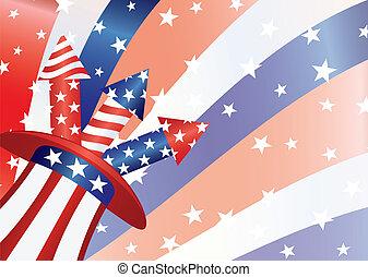 4th of July Fireworks in Hat Illustration