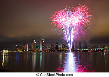 4th of July fireworks over San Diego. Long exposure night ...