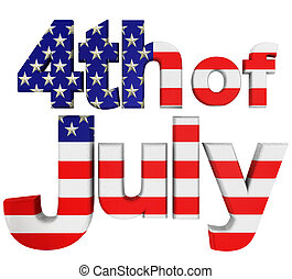 4th. Of July Front View - 4th of July phrase front view