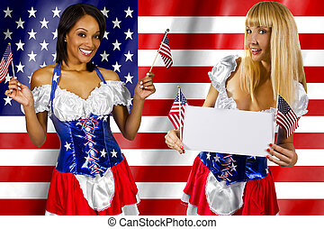 4th of July Girls - women dressed up in a costume with the...