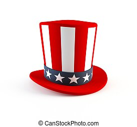 4th of July hat - 3D rendering of a 4th of July party hat