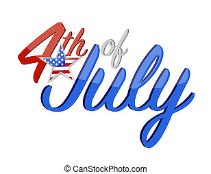 4th of July holiday sign concept illustration