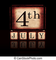4th of July in wooden cubes over black