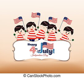 4th of july Independence day banner with kids