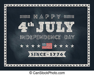 4th of july Independence day chalkboard background for card...