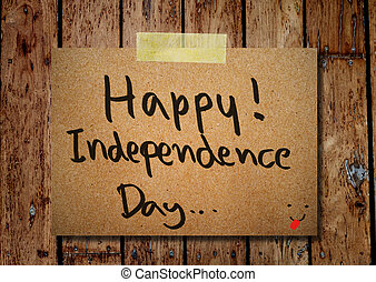 4th of July independence day note paper with wooden background