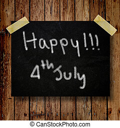 4th of July independence day note paperwith wooden background