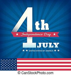 4th of july Independence day on blue burst background