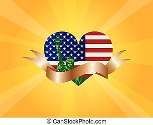 4th of July Liberty Heart and Ribbon Scroll Illustration