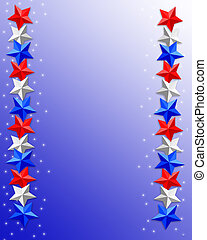 4th of July Patriotic border stars - 3 Dimensional...