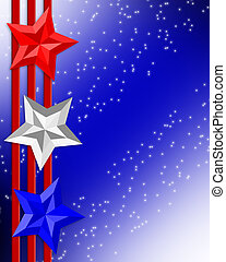4th of July Patriotic border stars stripes - 3 dimensional...