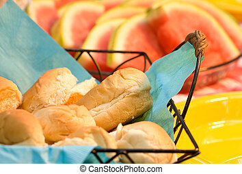 4th of July Picnic - Details of bread rolls and watermelon...