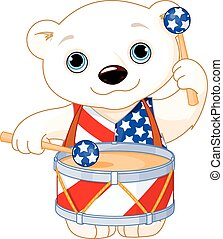 4th of July Polar Bear - Illustration of Polar Bear...