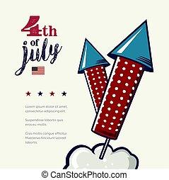 4th of July poster. Grunge retro metal sign with fireworks. Independence day. Celebration flyer. Vintage mockup. Old fashioned design.