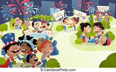 4th of July poster with celebrating people.