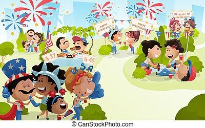 4th of July poster with celebrating people. Vector illustration in carton flat style