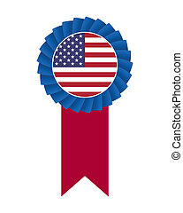 4th of July rosette isolated on white background