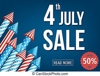 4th of July sale banner with firework rockets. -...