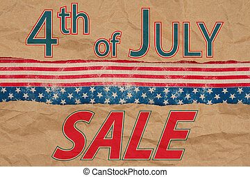 4th of July Sale type message with retro USA stars and stripes burlap ribbon