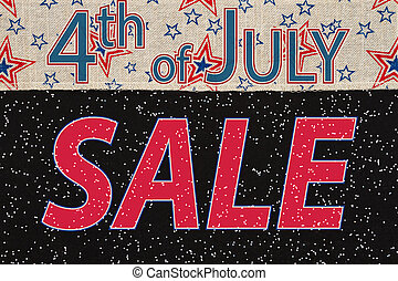 4th of July Sale type message with retro USA stars and stripes ribbon