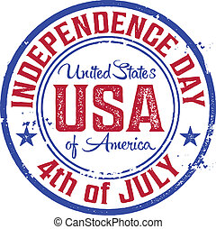 4th of July Stamp - Vintage Style USA Independence Day