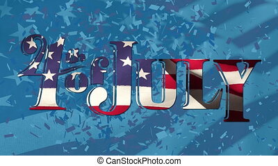 4th of July text and American flag