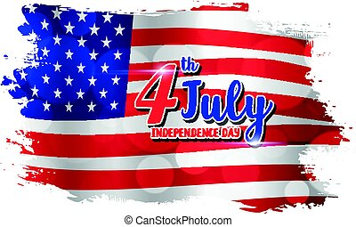 4th of July text design on abstract American Flag style background