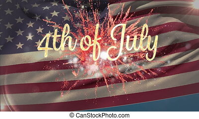 4th of July text with fireworks and American flag