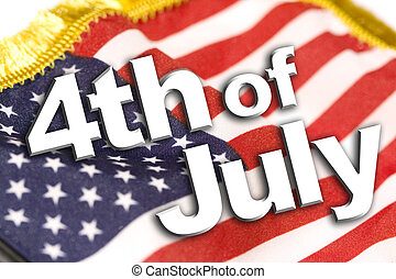 4th of July type on an american flag background.