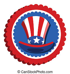 4th of july - uncle sam hat badge Vector Illustration