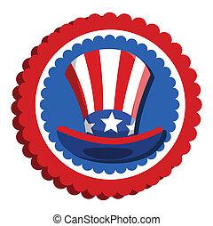 4th of july - uncle sam hat badge Vector Illustration
