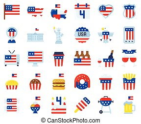4Th of july, United state independence day flat icon set