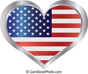 4th of July USA Flag Heart